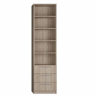 Colonne de rangement bibliothèque + 3 tiroirs finition chêne naturel largeur 50 cm