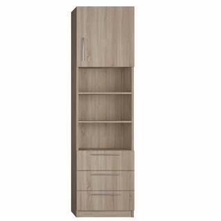 Colonne de rangement 1 porte haute, bibliothèque centrale, 3 tiroirs finition chêne naturel largeur 50 cm