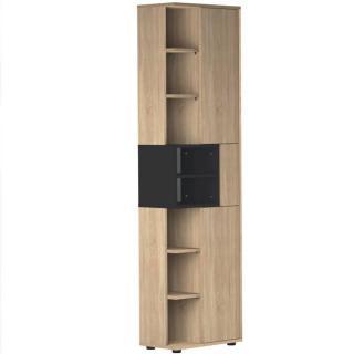 Colonne design DAINN 2 portes chêne naturel et noire