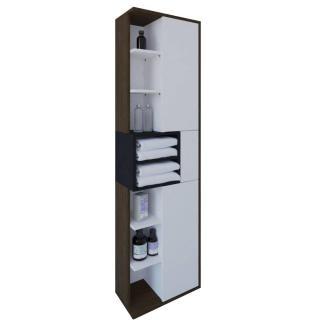 Colonne design DAINN 2 portes noyer et blanc mat