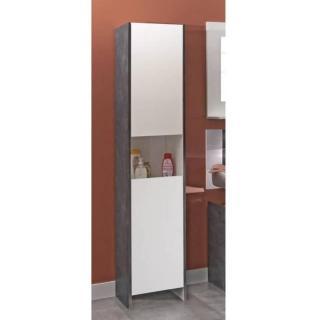 Colonne DOVA design béton et 2 portes blanche