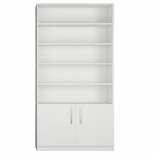Armoire 2 portes basses + bibliothèque largeur 100 cm coloris blanc mat