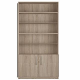 Armoire 2 portes basses + bibliothèque largeur 100 cm finition chêne naturel
