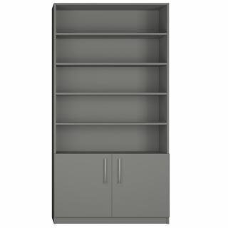 Armoire 2 portes basses + bibliothèque largeur 100 cm coloris gris graphite mat