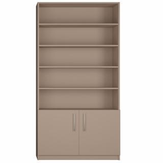 Armoire 2 portes basses + bibliothèque largeur 100 cm coloris taupe mat
