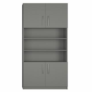 Armoire de rangement niche centrale, 4 portes largeur 100 cm coloris gris graphite mat