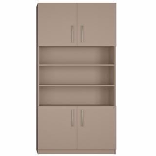 Armoire de rangement niche centrale, 4 portes largeur 100 cm coloris taupe mat