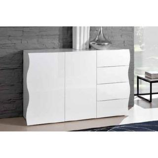Commode VAGUE 4 tiroirs et 2 portes blanc brillant.