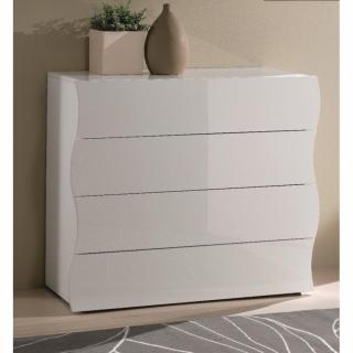Commode VAGUE 4 tiroirs blanc brillant.