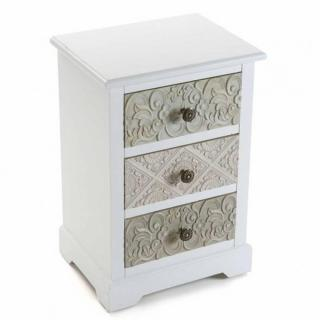 Commode blanche 3 tiroirs baroque MOSELA