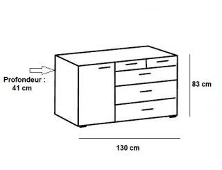 Commode BURNABY 4 tiroirs graphite 1 porte chêne artisan L : 130 cm