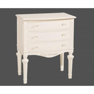 Commode blanche 3 tiroirs LOUISE en bois de zelkova style campagne