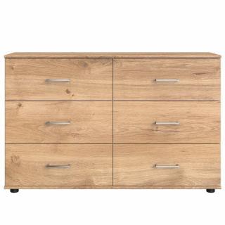 Commode CARAMELLA 6 tiroirs finition chêne poutre
