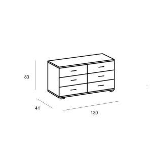 Commode CARAMELLA 6 tiroirs chêne silver vieilli plateau graphite