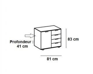 Commode combinée ANGELA 4 tiroirs gris clair 1 porte blanc mat