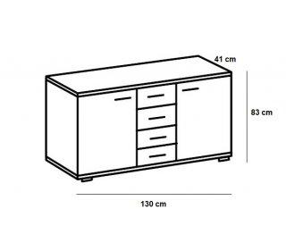 Buffet CARAMELLA 4 tiroirs 2 portes chêne vieilli plateau graphite