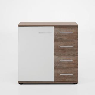 Commode Buffet EVA 4 tiroirs chêne châtaigne 1 porte blanc mat