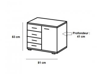 Commode Buffet EVA 4 tiroirs blanc mat 1 porte chêne clair