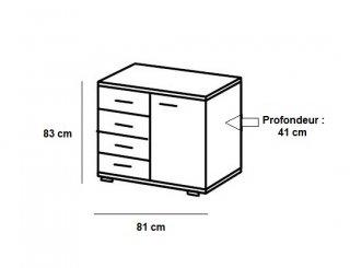 Commode Buffet EVA 4 tiroirs chêne châtaigne 1 porte graphite