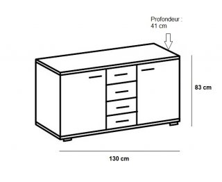 Commode Buffet EVA 4 tiroirs blanc mat 2 portes chêne châtaigne