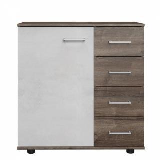 Commode Buffet JANA 4 tiroirs chêne châtaigne 1 porte gris béton