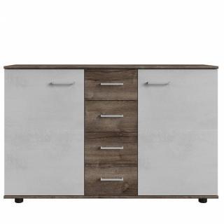 Commode Buffet JANA 4 tiroirs et 2 portes finition chêne châtaigne / gris béton