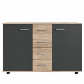 Commode Buffet JANA 4 tiroirs chêne clair 2 portes graphite