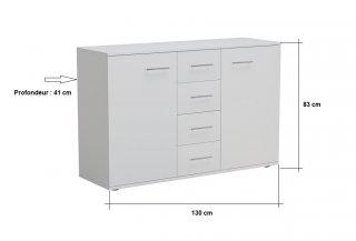 Commode combinée SMART 2 portes 4 tiroirs blanc mat
