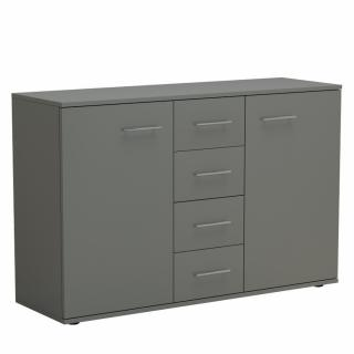 Commode combinée SMART 2 portes 4 tiroirs gris graphite mat