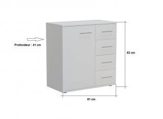 Commode combinée SMART 4 tiroirs 1 porte blanc mat