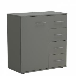 Commode combinée SMART 4 tiroirs 1 porte gris graphite mat