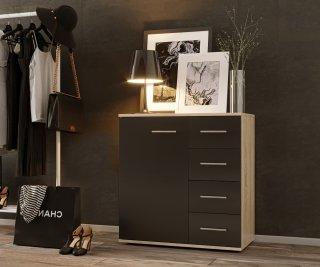 Commode combinée TEKNO chêne 4 tiroirs 1 porte noir mat