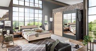 Commode Buffet VERNON style industriel 4 tiroirs graphite 1 porte pin argenté vieilli