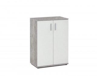 Commode ANGERS gris béton et blanc 1 plateau amovible