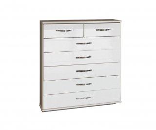 Commode KROSS 7 tiroirs structure blanc façade laquée blanc brillant
