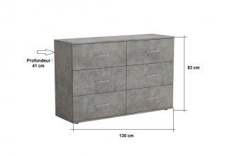 Commode LOFT 6 tiroirs gris béton