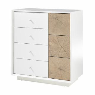 Commode MARKUS laqué blanc mat et décor chêne 1 portes 3 tiroirs
