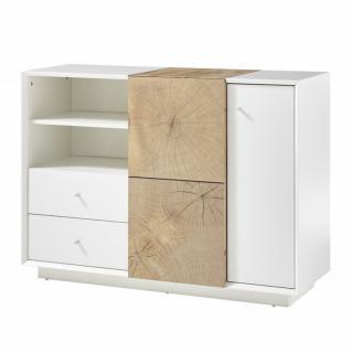 Commode Buffet MARKUS laqué blanc mat et décor chêne 2 portes 2 tiroirs 2 niches