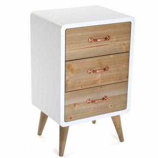 Commode compact SYLAN, 3 tiroirs style scandinave blanc