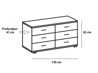 Commode EVA 4 tiroirs chêne châtaigne 2 tiroirs blanc mat