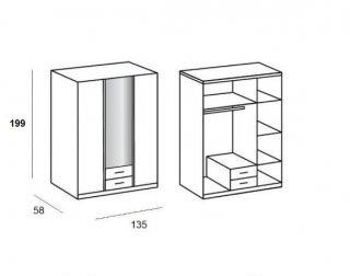 Composition armoires d'angle KROSS laqué blanc brillant