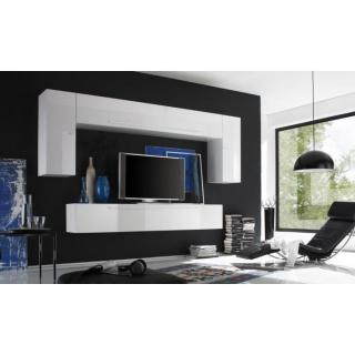 Composition murale TV design PRIMERA 3 blanc brillant