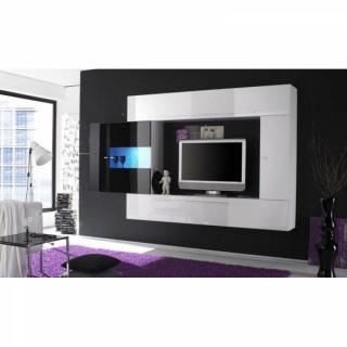 Composition murale TV design PRIMERA 4 blanc et noir