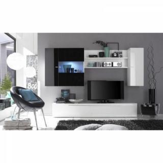 Composition murale TV design PRIMERA noir et blanc.