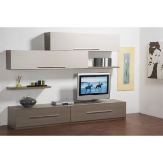 Composition murale tv LENIS design noyer et sable