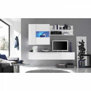 Composition murale TV design PRIMERA 2 blanc brillant