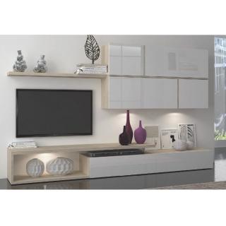 Composition murale TV 4 éléments design SWORD chêne clair et blanc mat
