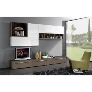 Composition murale TV design TWIST noyer et blanche