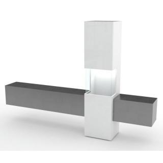 Composition murale TV design WASP marbre noir et blanc laqué