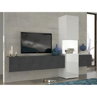 ensemble mural tv meubles et rangements composition murale tv design wasp marbre noir et blanc. Black Bedroom Furniture Sets. Home Design Ideas